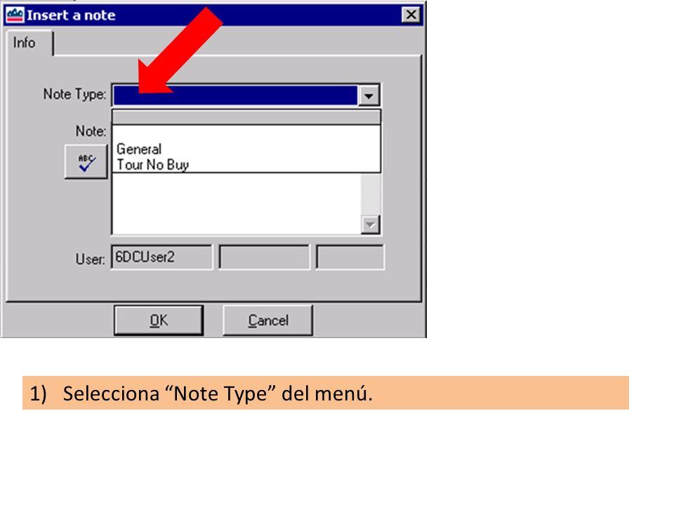 1)Selecciona Note Type del menú.