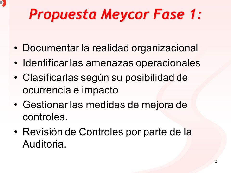 3 Propuesta Meycor Fase 1: Documentar la realidad organizacional Identificar las amenazas operacionales Clasificarlas según su posibilidad de ocurrenc