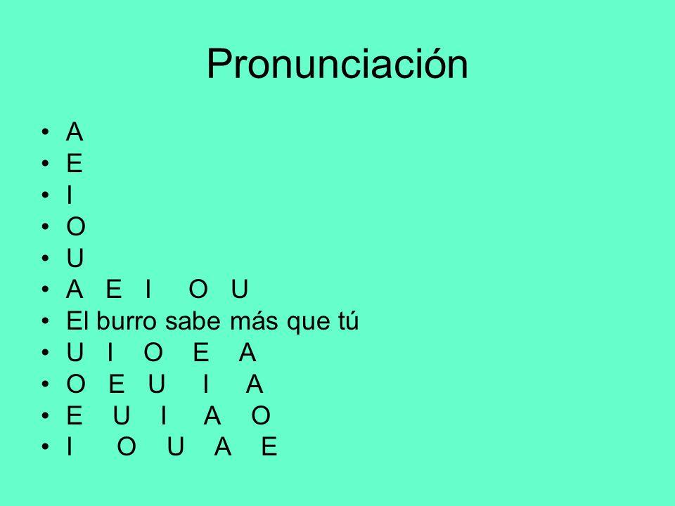 Pronunciación A E I O U A E I O U El burro sabe más que tú U I O E A O E U I A E U I A O I O U A E