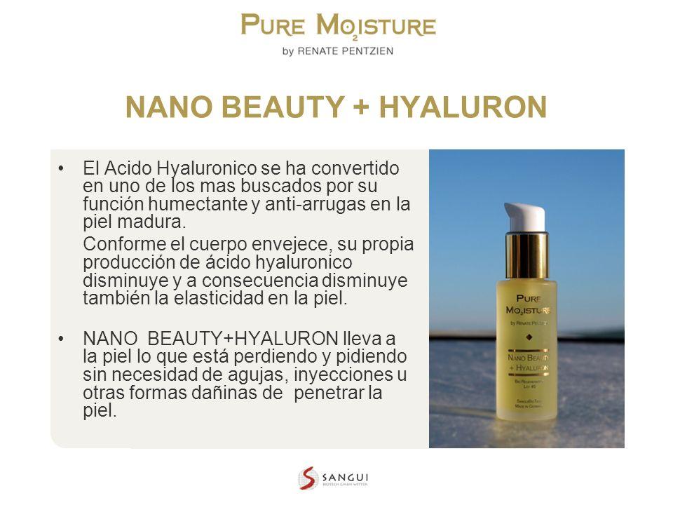 NANO TECHNOLOGY COSMETICS NANO BEAUTY + HYALURON El Acido Hyaluronico se ha convertido en uno de los mas buscados por su función humectante y anti-arr