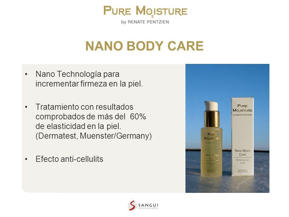 NANO TECHNOLOGY COSMETICS NANO BODY CARE Nano Technología para incrementar firmeza en la piel. Tratamiento con resultados comprobados de más del 60% d