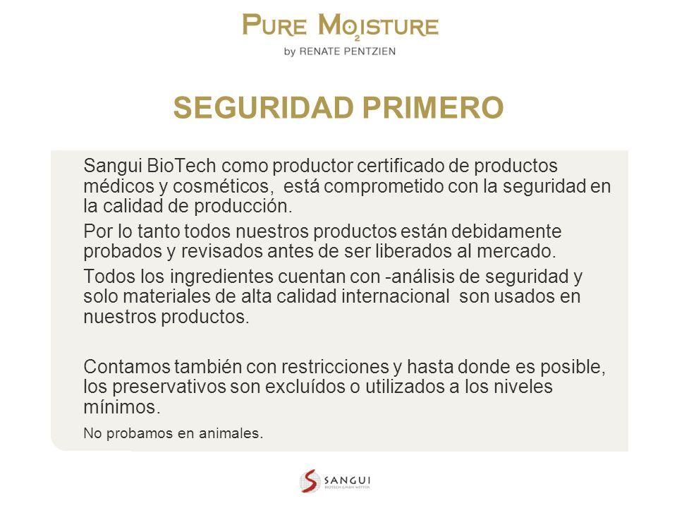 NANO TECHNOLOGY COSMETICS SEGURIDAD PRIMERO Sangui BioTech como productor certificado de productos médicos y cosméticos, está comprometido con la segu