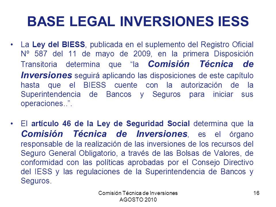 Comisión Técnica de Inversiones AGOSTO 2010 16 BASE LEGAL INVERSIONES IESS La Ley del BIESS, publicada en el suplemento del Registro Oficial Nº 587 de