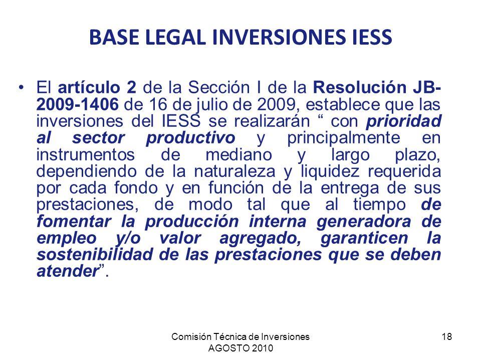 Comisión Técnica de Inversiones AGOSTO 2010 18 El artículo 2 de la Sección I de la Resolución JB- 2009-1406 de 16 de julio de 2009, establece que las