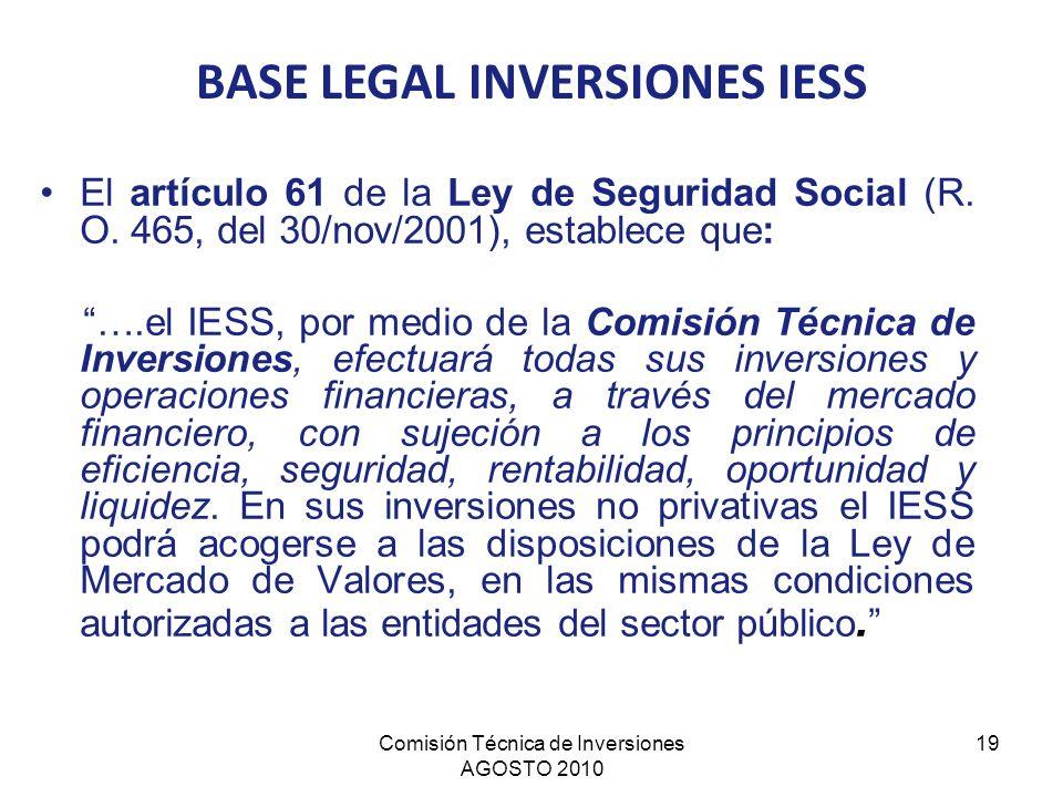 Comisión Técnica de Inversiones AGOSTO 2010 19 El artículo 61 de la Ley de Seguridad Social (R. O. 465, del 30/nov/2001), establece que: ….el IESS, po