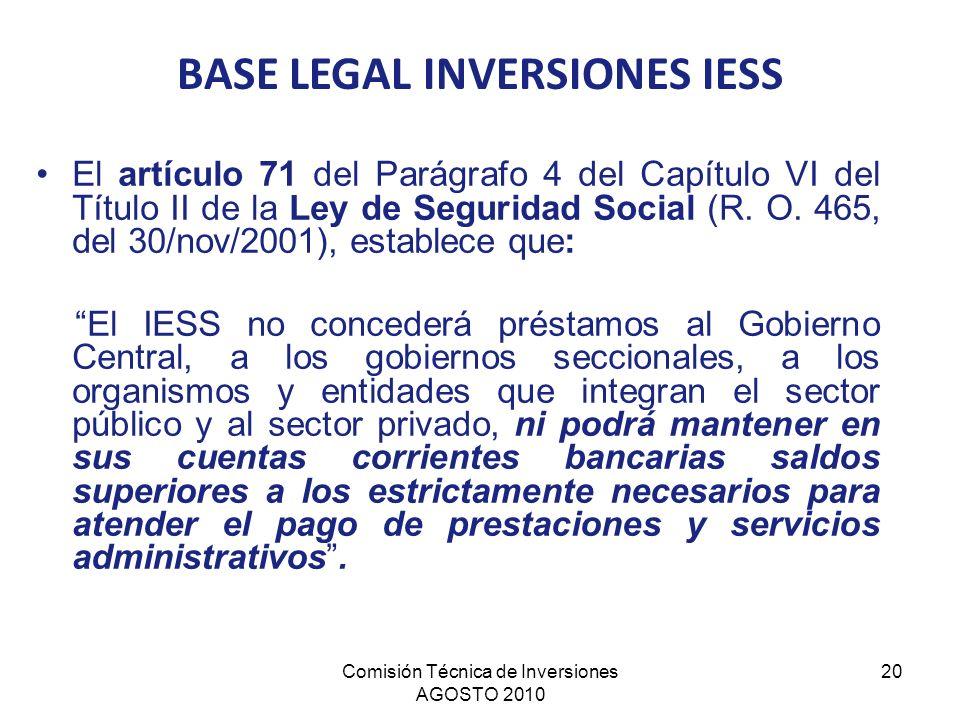 Comisión Técnica de Inversiones AGOSTO 2010 20 El artículo 71 del Parágrafo 4 del Capítulo VI del Título II de la Ley de Seguridad Social (R. O. 465,
