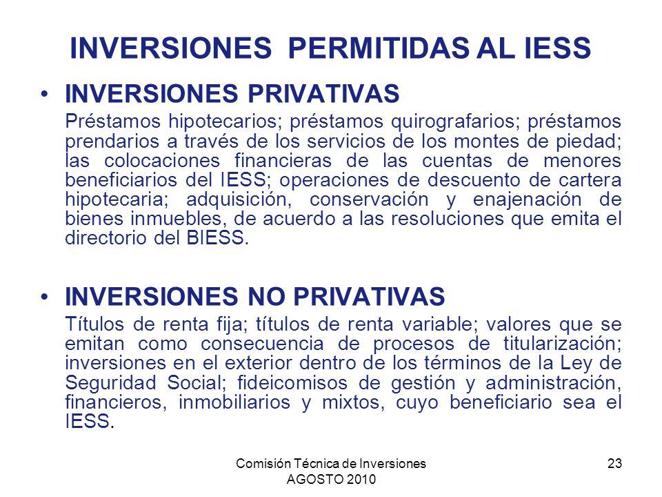 Comisión Técnica de Inversiones AGOSTO 2010 23 INVERSIONES PERMITIDAS AL IESS INVERSIONES PRIVATIVAS Préstamos hipotecarios; préstamos quirografarios;