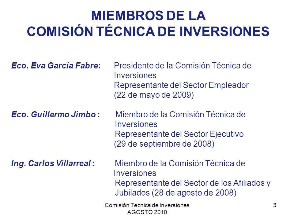 Comisión Técnica de Inversiones AGOSTO 2010 3 MIEMBROS DE LA COMISIÓN TÉCNICA DE INVERSIONES Eco. Eva Garcia Fabre: Presidente de la Comisión Técnica