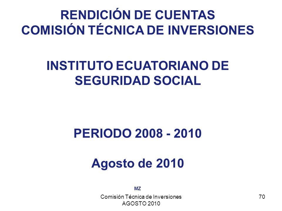 Comisión Técnica de Inversiones AGOSTO 2010 70 RENDICIÓN DE CUENTAS COMISIÓN TÉCNICA DE INVERSIONES INSTITUTO ECUATORIANO DE SEGURIDAD SOCIAL PERIODO