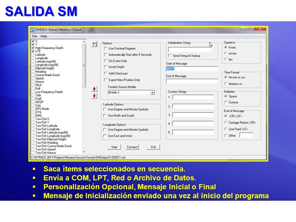 SALIDA NMEA Saca mensajes NMEA seleccionados sobre un puerto o a un archivo de datos.