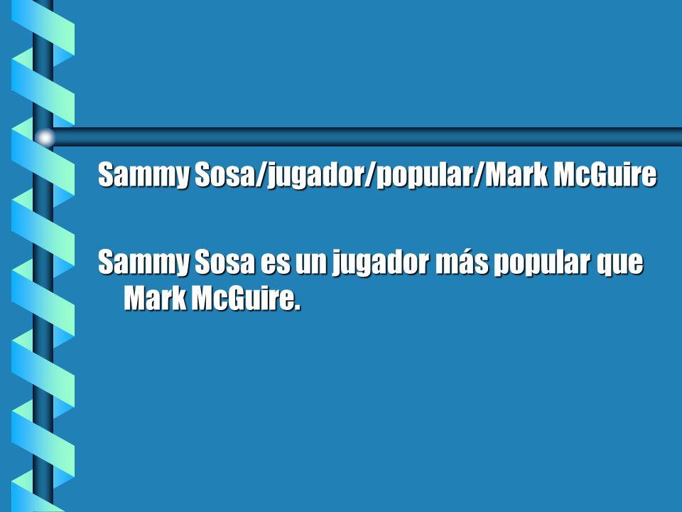 Sammy Sosa/jugador/popular/Mark McGuire Sammy Sosa es un jugador más popular que Mark McGuire.