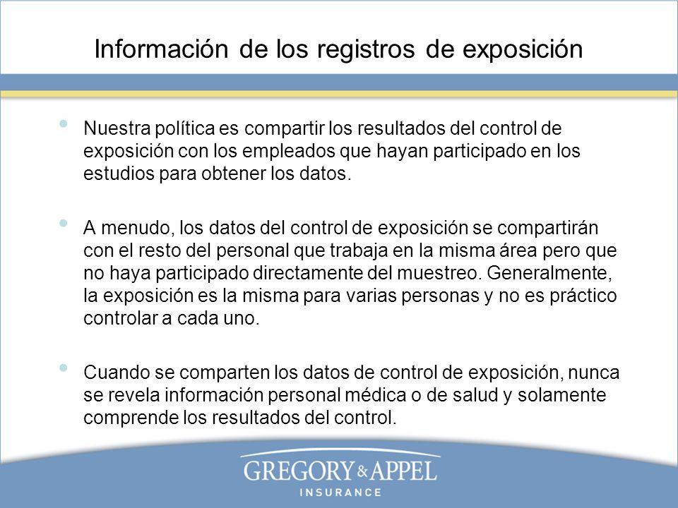 Información de los registros de exposición Nuestra política es compartir los resultados del control de exposición con los empleados que hayan particip
