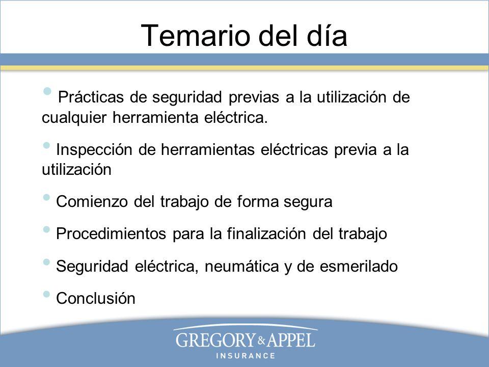 Temario del día Prácticas de seguridad previas a la utilización de cualquier herramienta eléctrica. Inspección de herramientas eléctricas previa a la