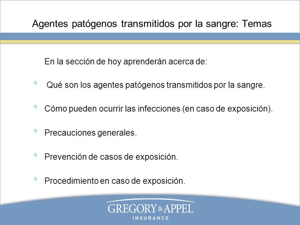Agentes patógenos transmitidos por la sangre: Temas En la sección de hoy aprenderán acerca de: Qué son los agentes patógenos transmitidos por la sangr