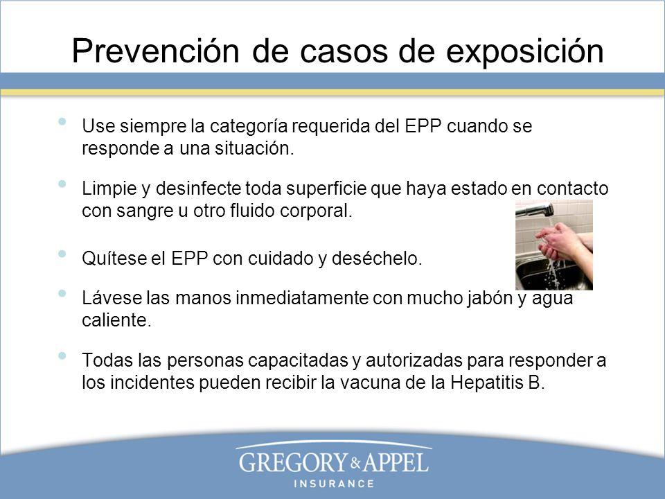 Prevención de casos de exposición Use siempre la categoría requerida del EPP cuando se responde a una situación. Limpie y desinfecte toda superficie q