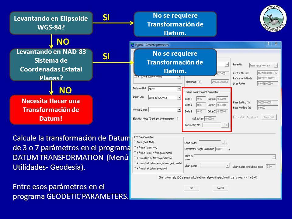 Determinando Parámetros de Transformación de Datum Puede determinar los 3 o 7 parámetros de transformación del Datum al ejecutar el programa DATUM TRANSFORMATION.Puede determinar los 3 o 7 parámetros de transformación del Datum al ejecutar el programa DATUM TRANSFORMATION.