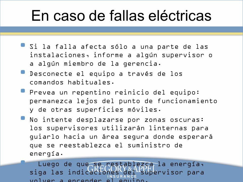 En caso de fallas eléctricas Si la falla afecta sólo a una parte de las instalaciones, informe a algún supervisor o a algún miembro de la gerencia. De