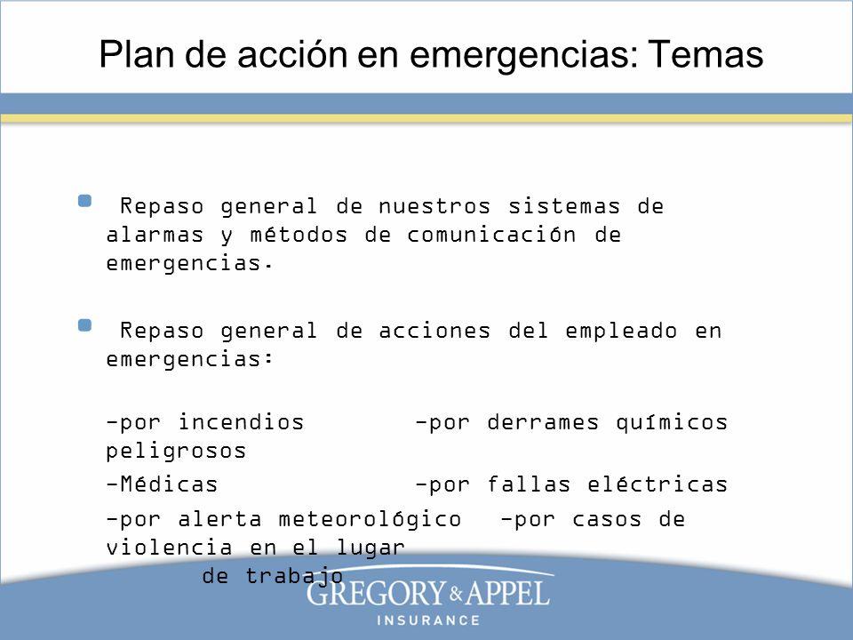 Plan de acción en emergencias: Temas Repaso general de nuestros sistemas de alarmas y métodos de comunicación de emergencias. Repaso general de accion