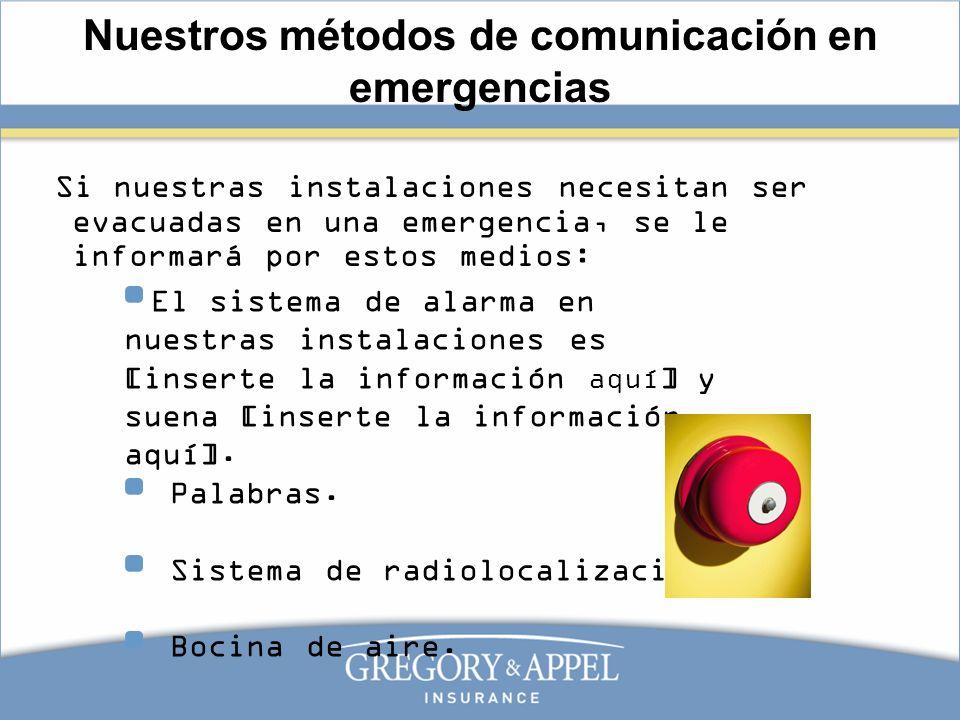 El sistema de alarma en nuestras instalaciones es [inserte la información aquí ] y suena [inserte la información aquí]. Palabras. Sistema de radioloca