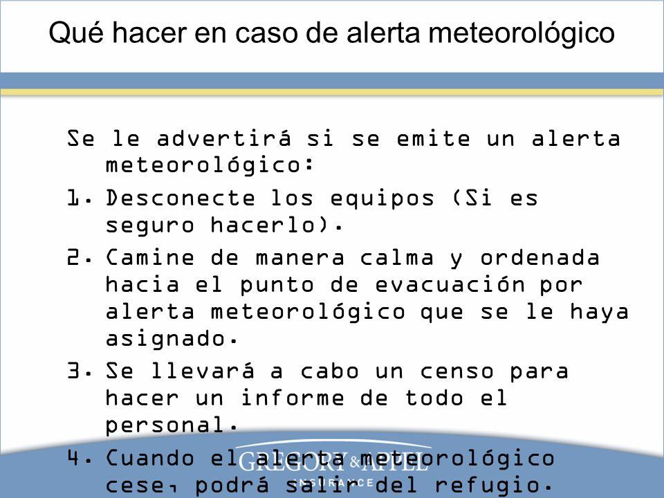 Qué hacer en caso de alerta meteorológico Se le advertirá si se emite un alerta meteorológico: 1.Desconecte los equipos (Si es seguro hacerlo). 2.Cami