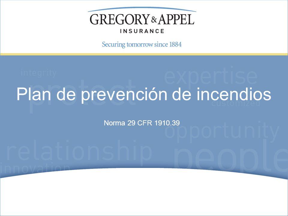 Norma 29 CFR 1910.39 Plan de prevención de incendios