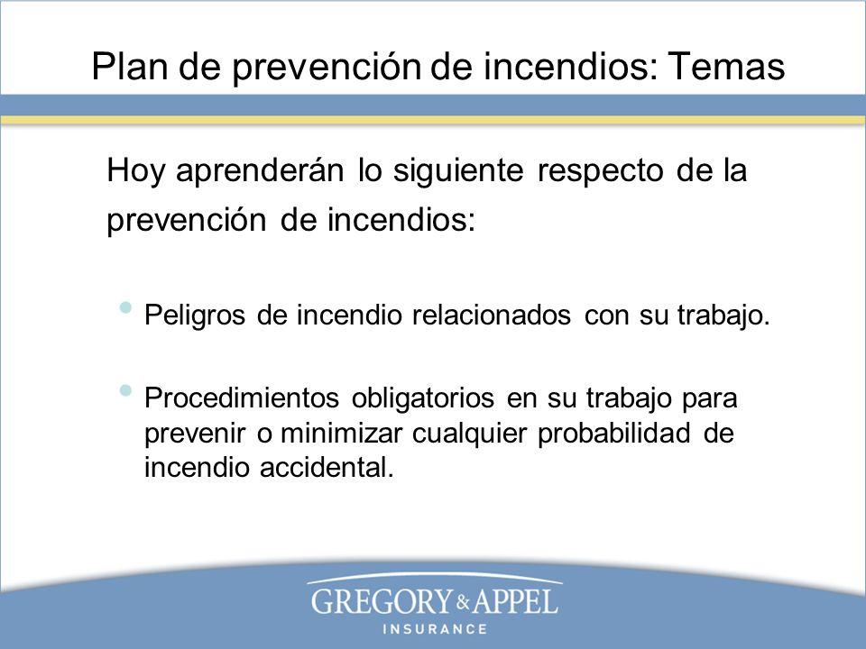 Plan de prevención de incendios: Temas Hoy aprenderán lo siguiente respecto de la prevención de incendios: Peligros de incendio relacionados con su tr