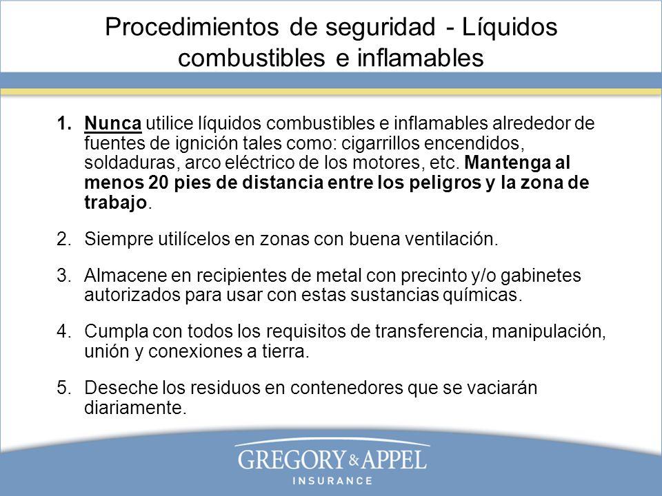 Procedimientos de seguridad - Líquidos combustibles e inflamables 1.Nunca utilice líquidos combustibles e inflamables alrededor de fuentes de ignición