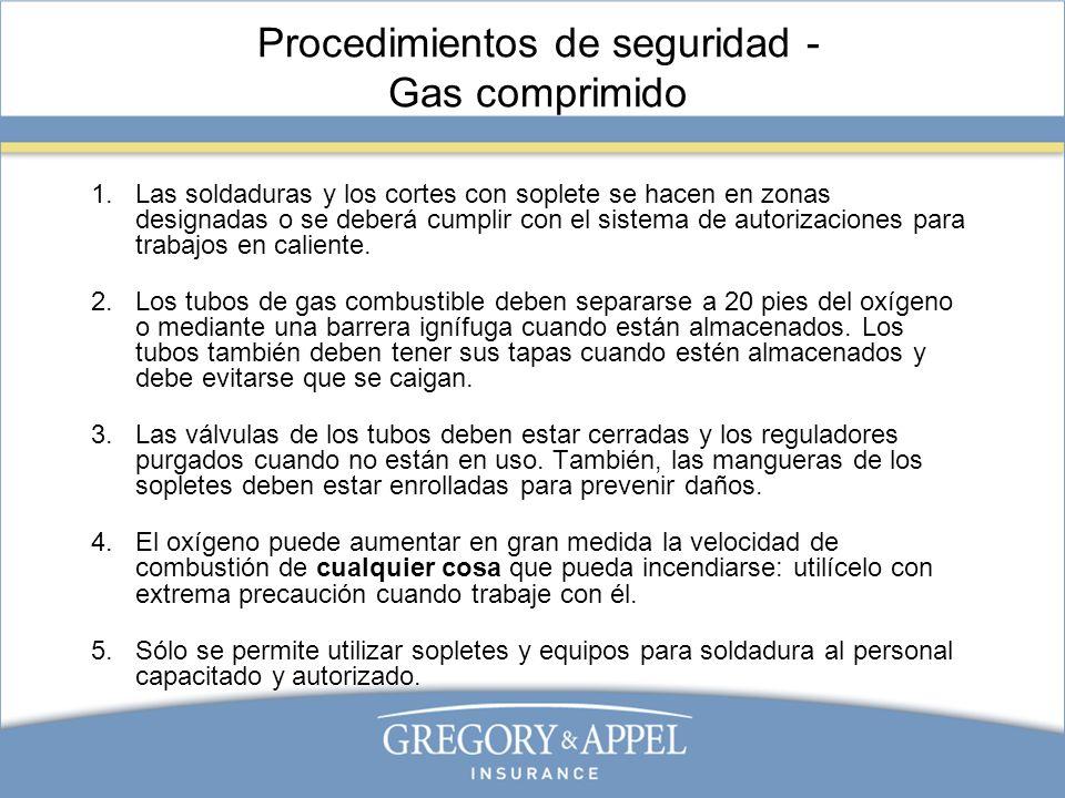 Procedimientos de seguridad - Gas comprimido 1.Las soldaduras y los cortes con soplete se hacen en zonas designadas o se deberá cumplir con el sistema