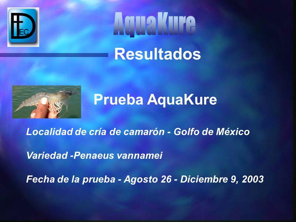 Resultados Prueba AquaKure Localidad de cría de camarón - Golfo de México Variedad -Penaeus vannamei Fecha de la prueba - Agosto 26 - Diciembre 9, 200