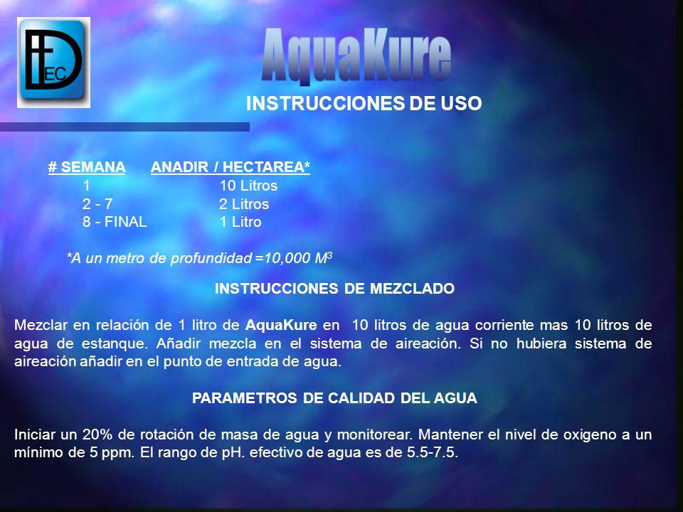 # SEMANA ANADIR / HECTAREA* 1 10 Litros 2 - 7 2 Litros 8 - FINAL 1 Litro *A un metro de profundidad =10,000 M 3 INSTRUCCIONES DE MEZCLADO Mezclar en r
