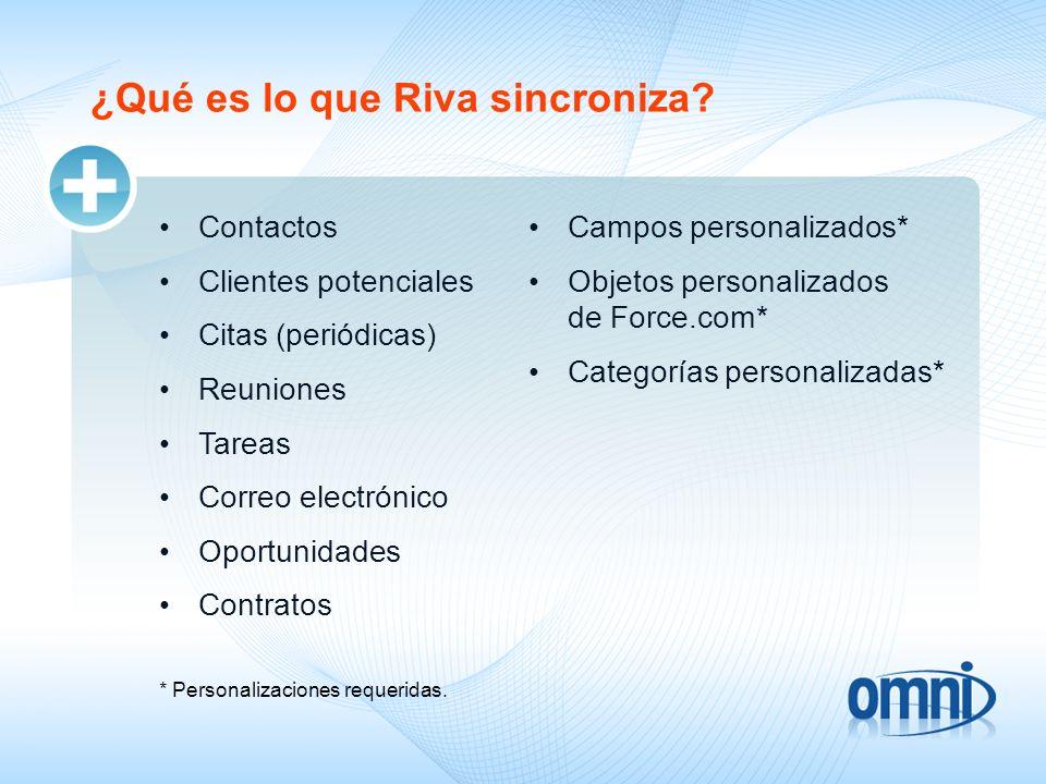 ¿Qué es lo que Riva sincroniza? Contactos Clientes potenciales Citas (periódicas) Reuniones Tareas Correo electrónico Oportunidades Contratos * Person