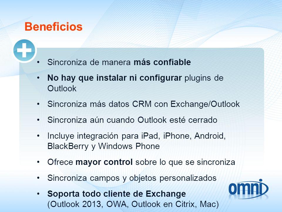 Beneficios Sincroniza de manera más confiable No hay que instalar ni configurar plugins de Outlook Sincroniza más datos CRM con Exchange/Outlook Sincr