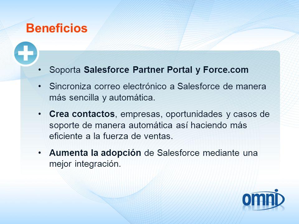 Beneficios Soporta Salesforce Partner Portal y Force.com Sincroniza correo electrónico a Salesforce de manera más sencilla y automática. Crea contacto