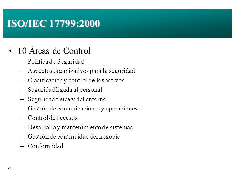 20 ISO/IEC 17799:2000 10 Áreas de Control –Política de Seguridad –Aspectos organizativos para la seguridad –Clasificación y control de los activos –Seguridad ligada al personal –Seguridad física y del entorno –Gestión de comunicaciones y operaciones –Control de accesos –Desarrollo y mantenimiento de sistemas –Gestión de continuidad del negocio –Conformidad
