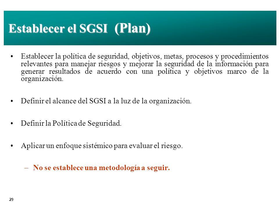 29 Establecer el SGSI (Plan) Establecer la política de seguridad, objetivos, metas, procesos y procedimientos relevantes para manejar riesgos y mejorar la seguridad de la información para generar resultados de acuerdo con una política y objetivos marco de la organización.