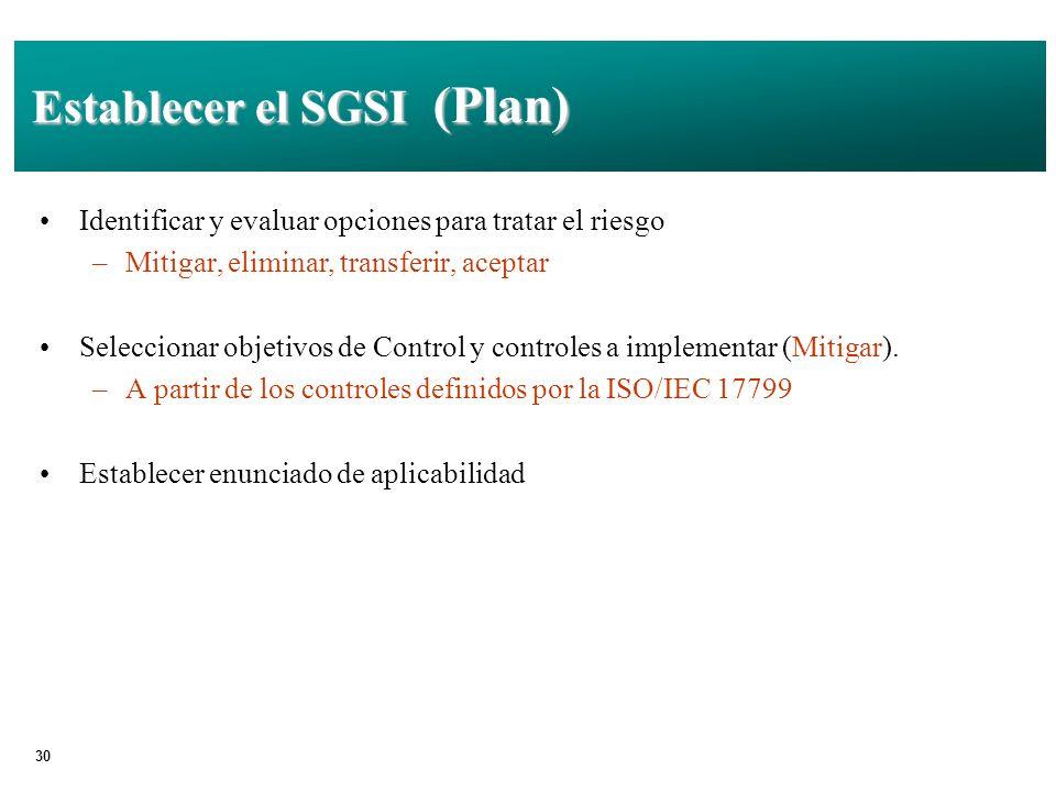 30 Establecer el SGSI (Plan) Identificar y evaluar opciones para tratar el riesgo –Mitigar, eliminar, transferir, aceptar Seleccionar objetivos de Control y controles a implementar (Mitigar).