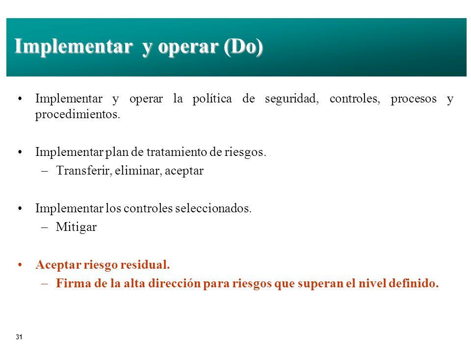 31 Implementar y operar (Do) Implementar y operar la política de seguridad, controles, procesos y procedimientos.