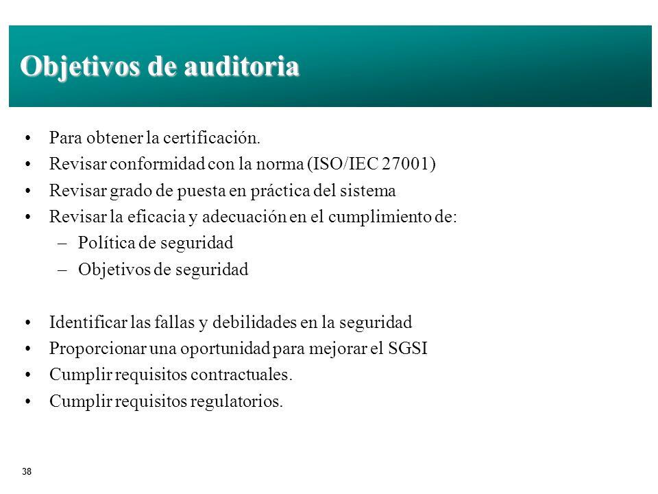 38 Objetivos de auditoria Para obtener la certificación.