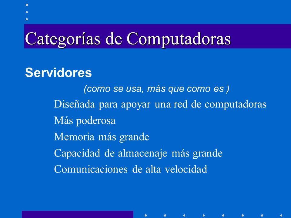 Categorías de Computadoras Servidores (como se usa, más que como es ) Diseñada para apoyar una red de computadoras Más poderosa Memoria más grande Cap