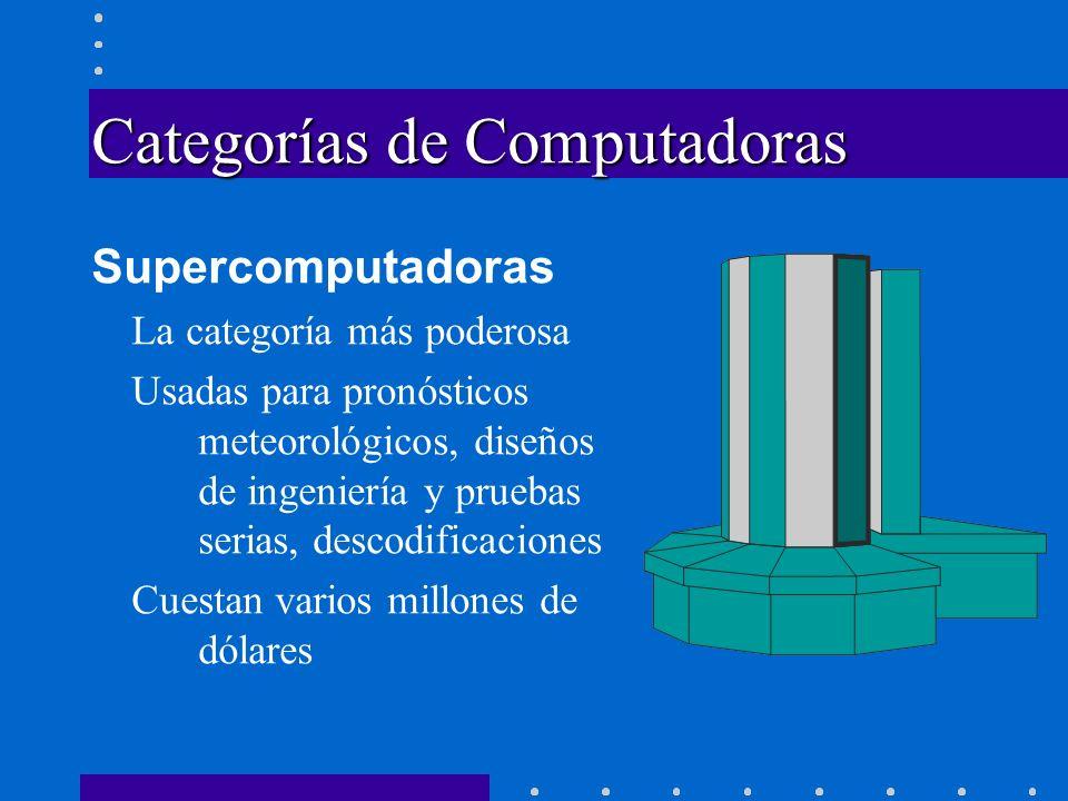 Categorías de Computadoras Supercomputadoras La categoría más poderosa Usadas para pronósticos meteorológicos, diseños de ingeniería y pruebas serias,
