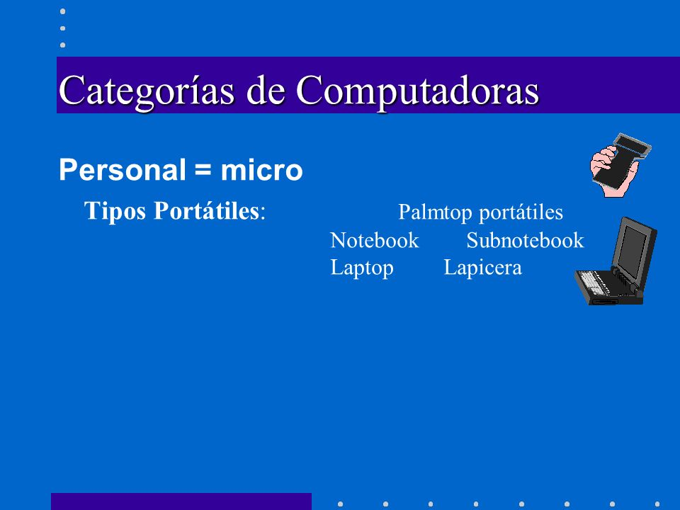 Categorías de Computadoras Personal = micro Tipos Portátiles: Palmtop portátiles NotebookSubnotebook Laptop Lapicera Escritorio