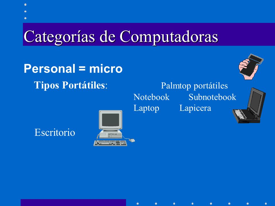 Categorías de Computadoras Personal = micro Tipos Portátiles: Palmtop portátiles NotebookSubnotebook Laptop Lapicera Escritorio Torre
