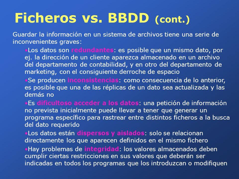 Ficheros vs. BBDD (cont.) Guardar la información en un sistema de archivos tiene una serie de inconvenientes graves: Los datos son redundantes: es pos