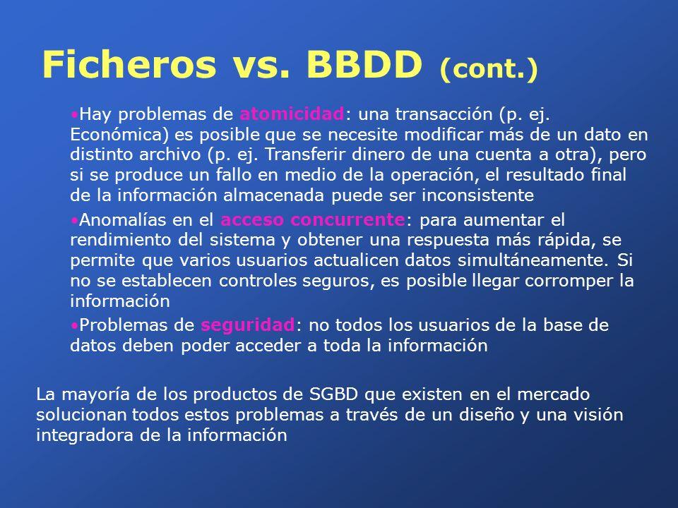 Ficheros vs. BBDD (cont.) Hay problemas de atomicidad: una transacción (p. ej. Económica) es posible que se necesite modificar más de un dato en disti