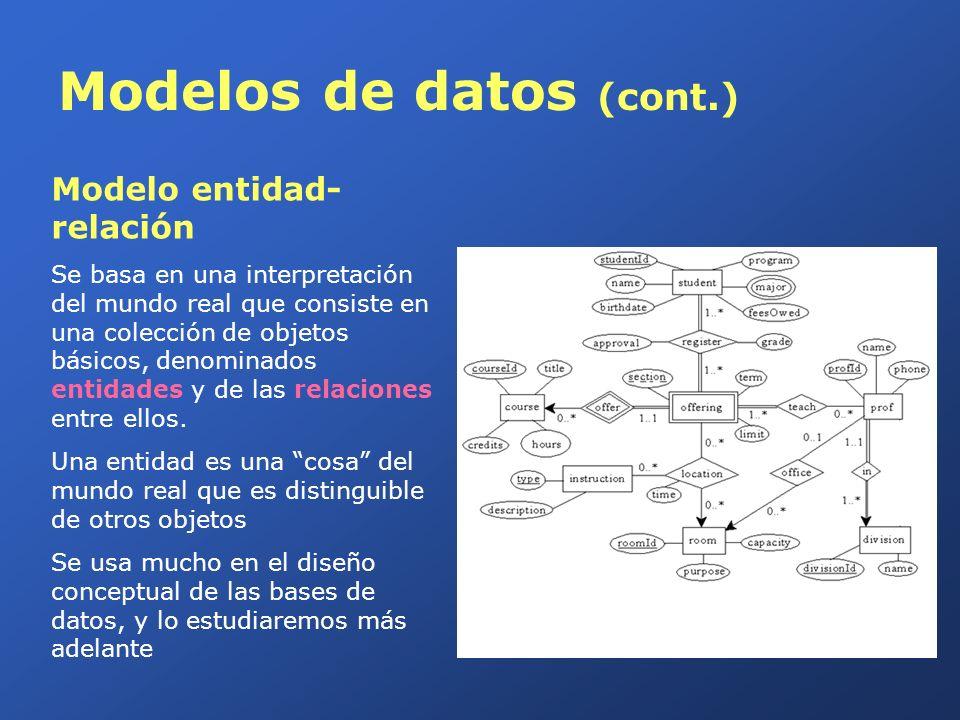 Modelos de datos (cont.) Modelo de datos orientado a objetos Se puede considerar una extensión del modelo entidad-relación que incluye además tipos de datos más complejos y conceptos propios de la orientación a objetos como: Encapsulación Herencia Polimorfismo Modelo de datos semiestructurados Permite especificar datos, en los que elementos de datos individuales del mismo tipo pueden tener diferentes conjuntos de atributos.