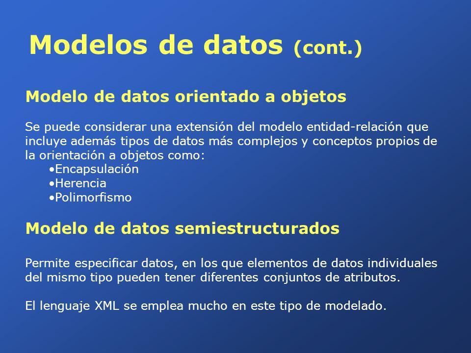 Modelos de datos (cont.) Modelo de datos jerárquico Modela relaciones entre datos de tipo jerárquico, en forma de árbol estructurados mediante punteros, y no distingue entre el nivel lógico y el físico.