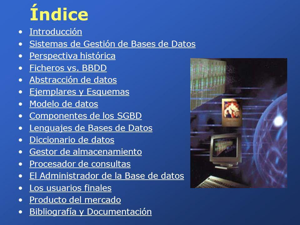 Índice Introducción Sistemas de Gestión de Bases de Datos Perspectiva histórica Ficheros vs. BBDD Abstracción de datos Ejemplares y Esquemas Modelo de
