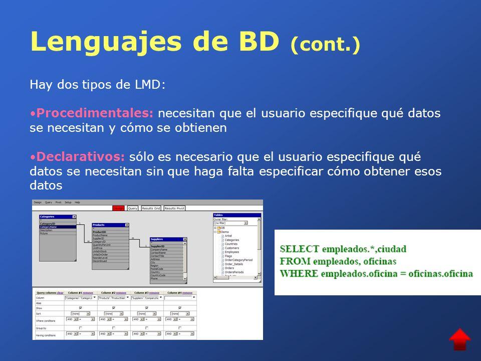 Lenguajes de BD (cont.) Lenguaje de definición de datos (LDD) Se utilizan para especificar los esquemas de la base de datos, y otras propiedades de los datos, como son las restricciones de consistencia: Relativas al dominio: en función del conjunto de los valores posibles De integridad referencial: un valor debe coincidir en varias relaciones y si desaparece de una lo debe hacer de las demás Autorizaciones: operaciones que con ese dato pueden y no pueden realizar los distintos tipos de usuarios En este módulo utilizaremos el lenguaje SQL que es al mismo tiempo un LMD de tipo declarativo, y un LDD, el más utilizado en la actualidad.