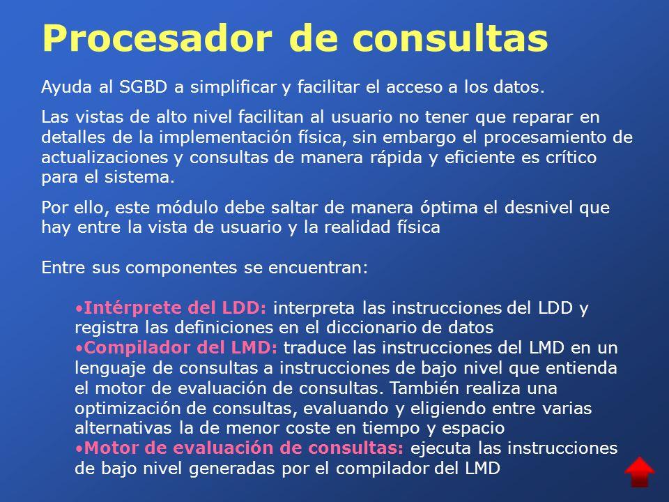 Procesador de consultas Ayuda al SGBD a simplificar y facilitar el acceso a los datos. Las vistas de alto nivel facilitan al usuario no tener que repa