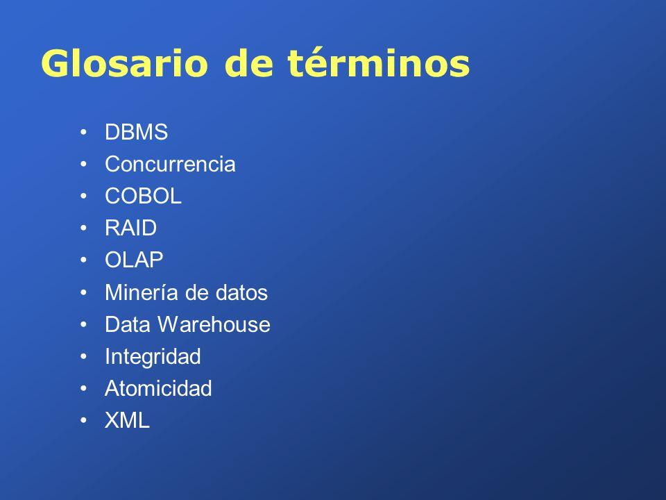 Glosario de términos DBMS Concurrencia COBOL RAID OLAP Minería de datos Data Warehouse Integridad Atomicidad XML
